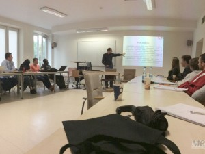 Студент УжНУ на лекції в литовському університеті